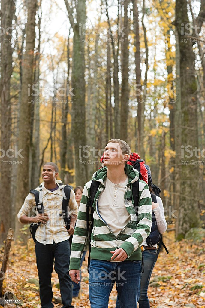 Young people in forest royalty-free stock photo