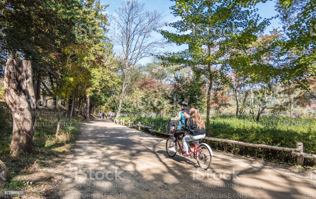 Young people on a tandem bike on Nami Island in South Korea stock photo
