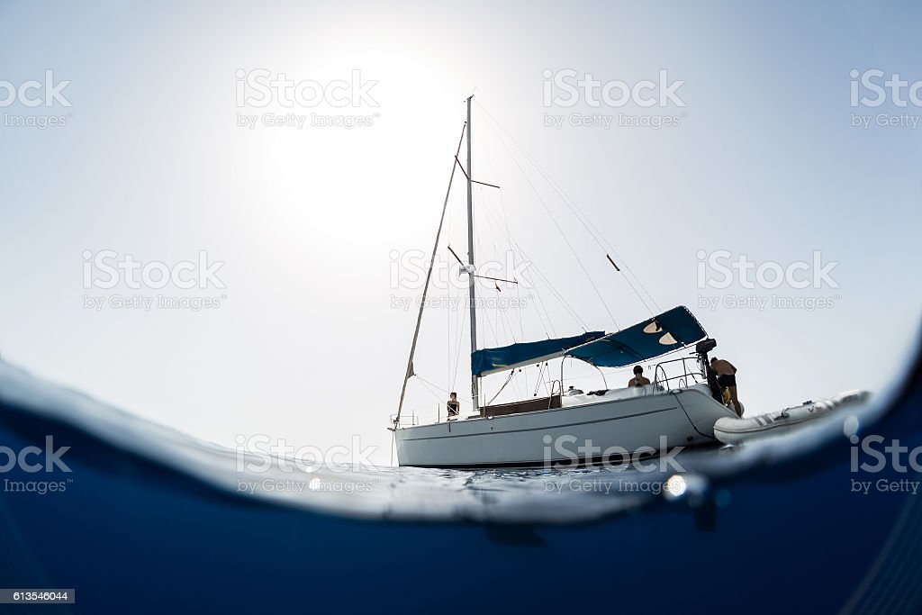 Young people on a yacht stock photo