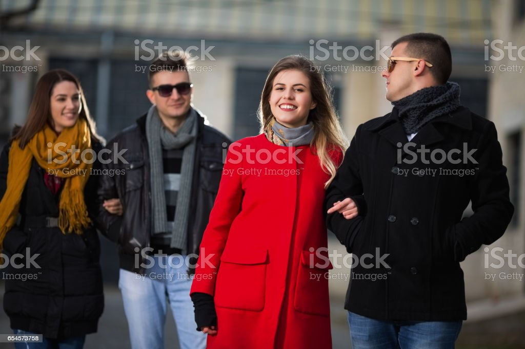 Young people outdoors stock photo