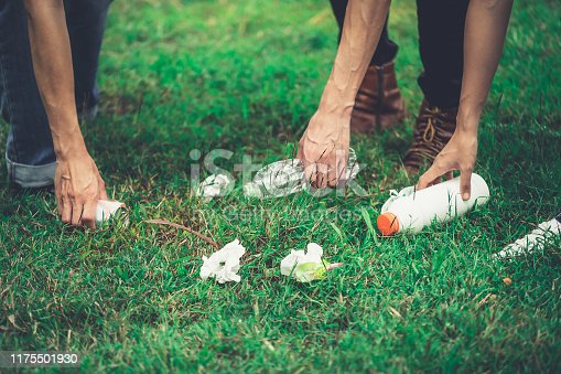 istock Young people pick garbage to clean the public park lawn. Volunteer and environment protecting. 1175501930
