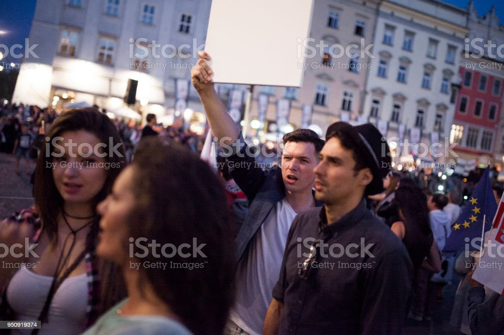 Young people protesting stock photo