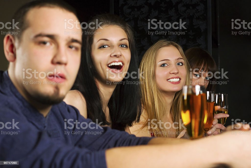 Young people relaxing in a night bar royalty-free stock photo
