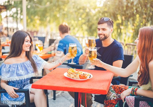 183064447 istock photo Young people relaxing in patio section 1128500864
