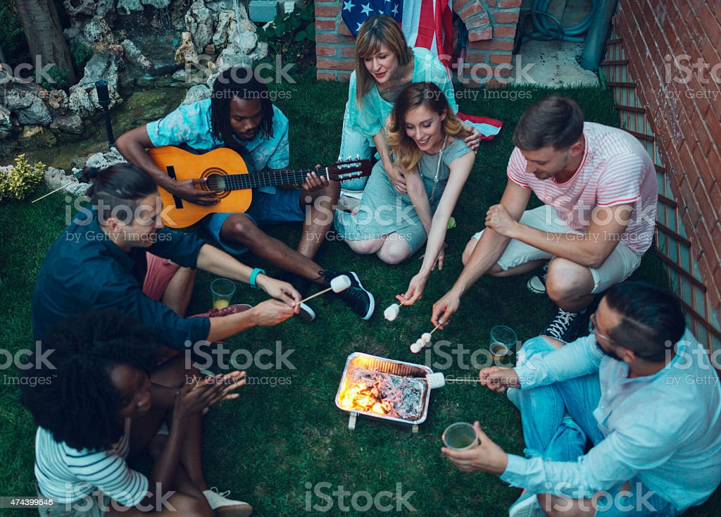 Young People Roasting Marshamllows On Open Fire. stock photo