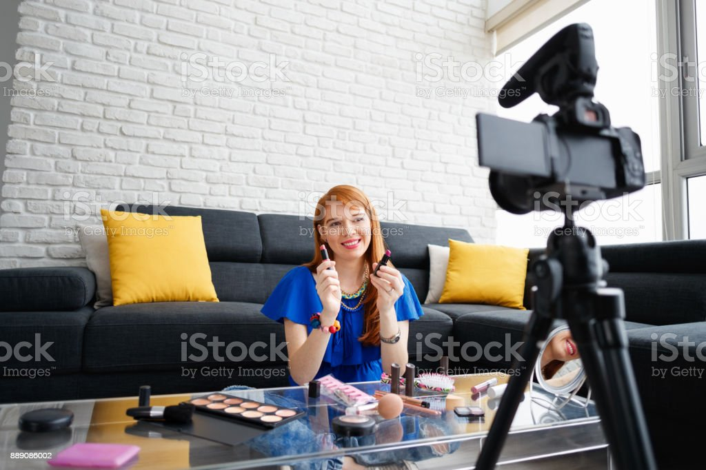 Young People Shooting Makeup Video For Vlog Video Blog stock photo