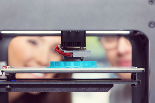 Young People Using 3d Printer Stock Photo - Download Image Now