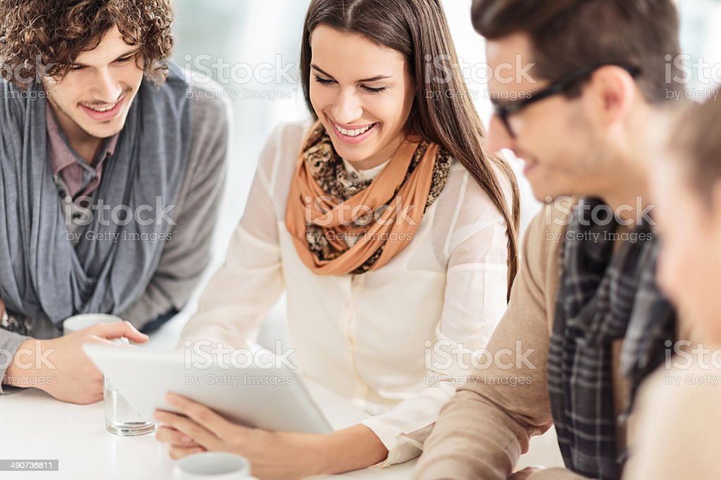 Young people using touchpad. royalty-free stock photo