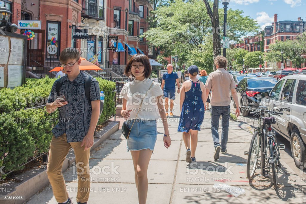Young people walking in Back Bay in Boston stock photo