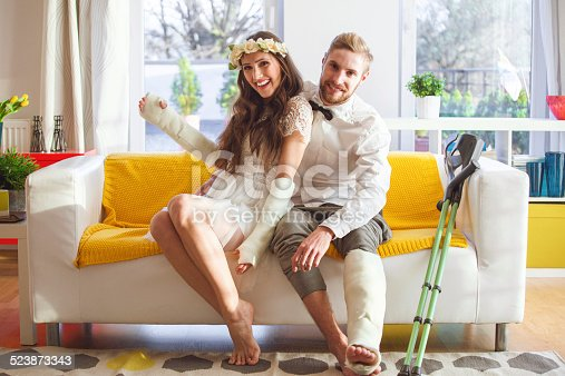 istock Young people with broken leg and arms 523873343