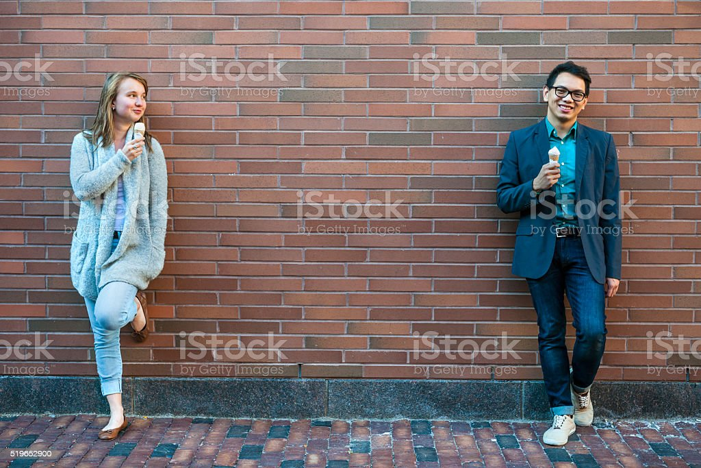 Young people with ice cream stock photo