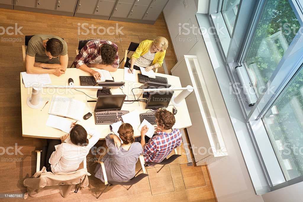 Young People Working in Library, Elevated View royalty-free stock photo