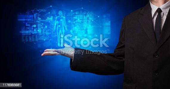 520592332istockphoto Young person holding hologram projection with health concept 1176965681