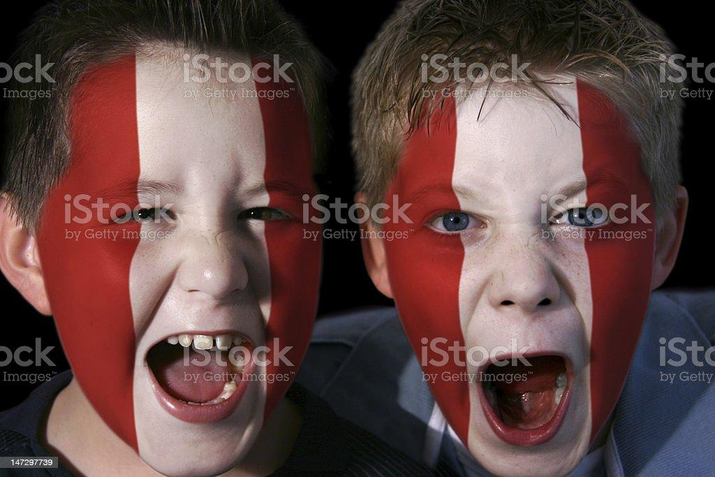 Young Peruvian Football Fans stock photo
