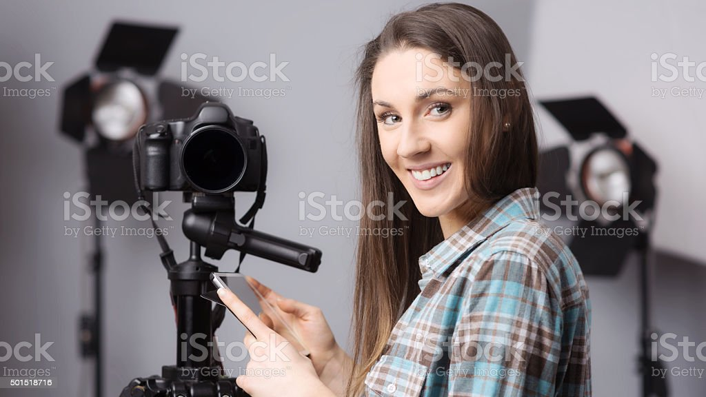 Young photographer portrait stock photo