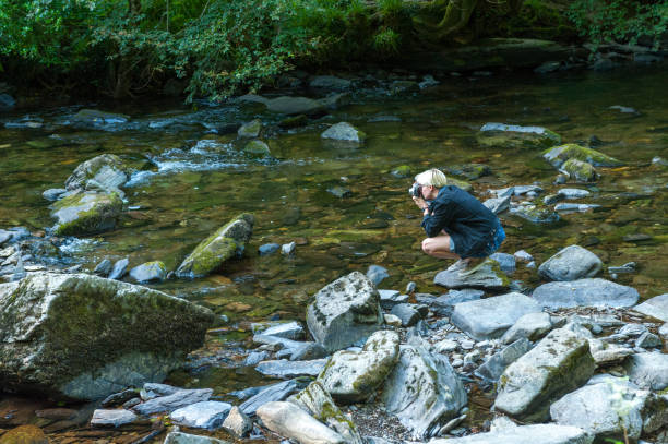 Young photographer taking photos in Tarr Steps Woodland Reserve stock photo