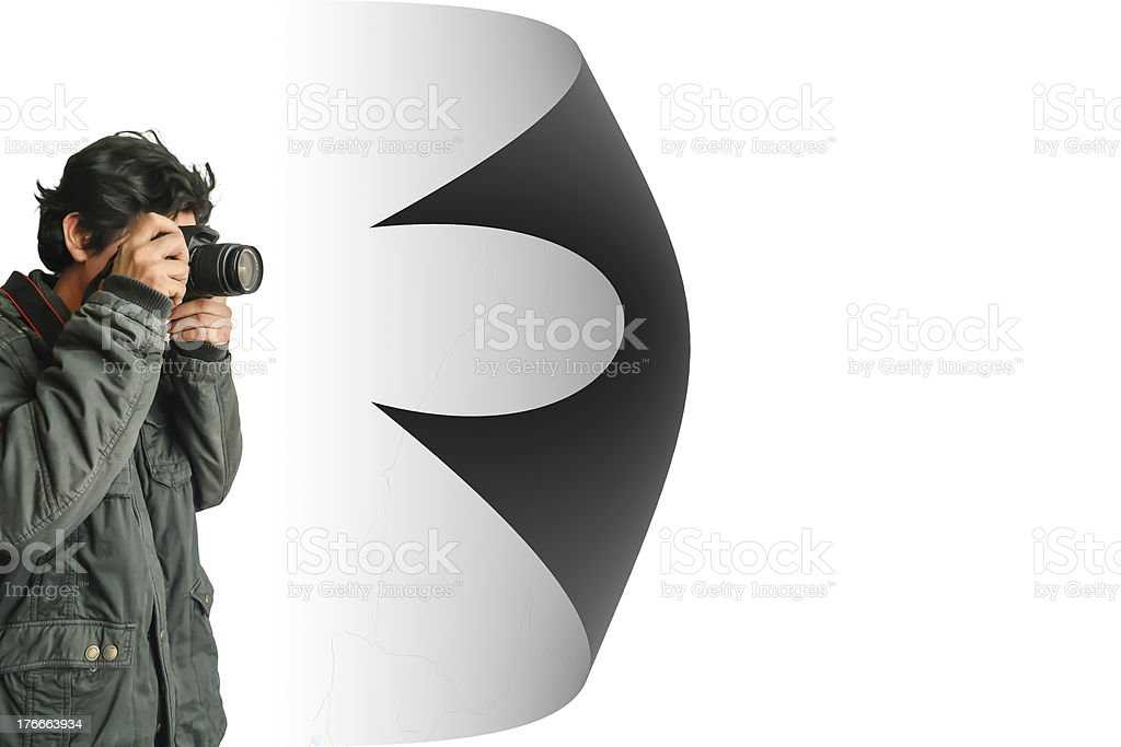 Young photographer taking pictures with digital camera royalty-free stock photo