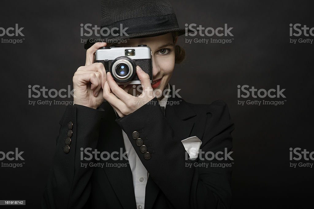 Young photographing lady royalty-free stock photo