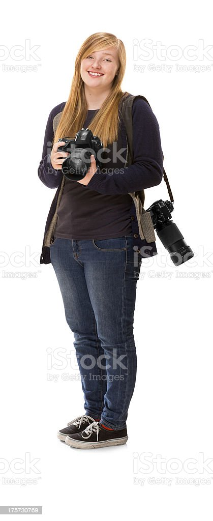young photography student stock photo