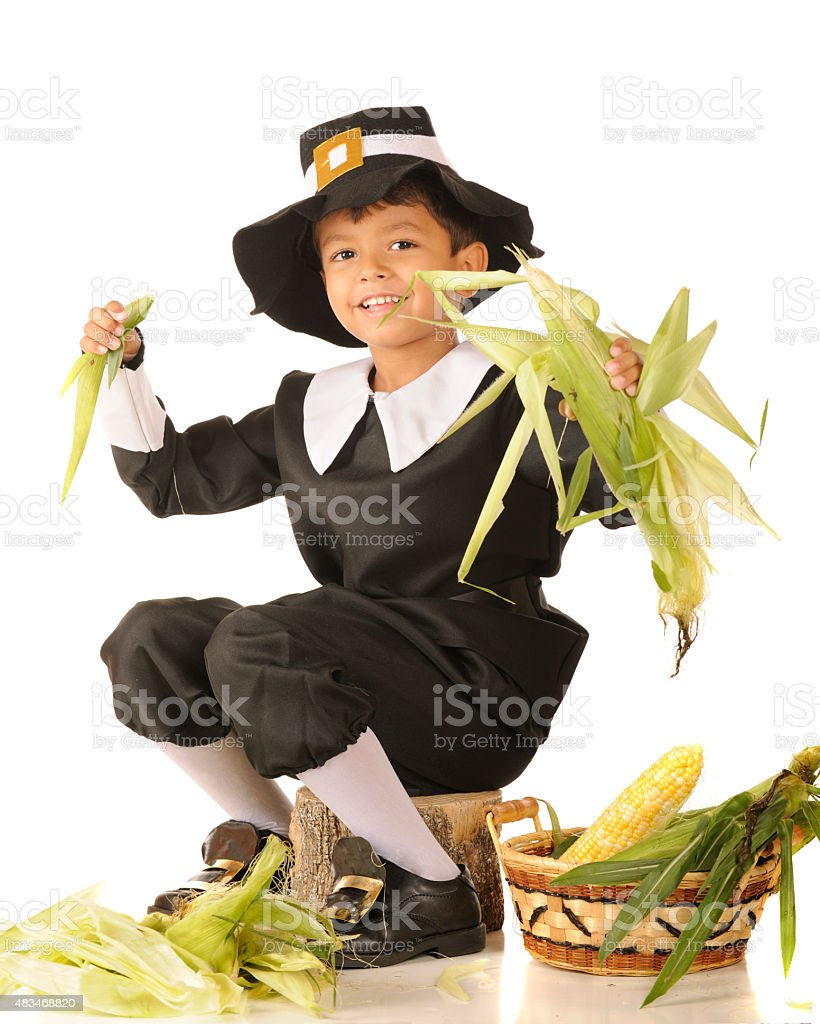 Young Pilgrim Husker stock photo
