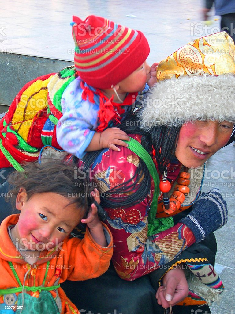 Young pilgrim lady with children stock photo