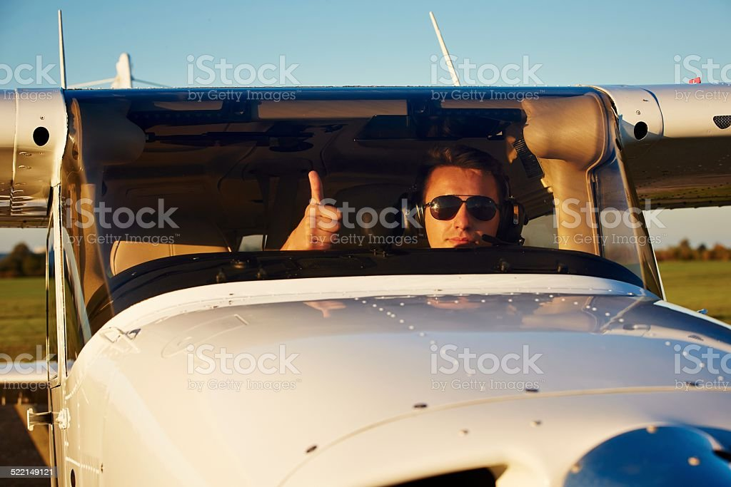 Young pilot stock photo
