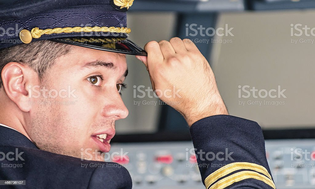 Young Pilot ready for Takeoff stock photo