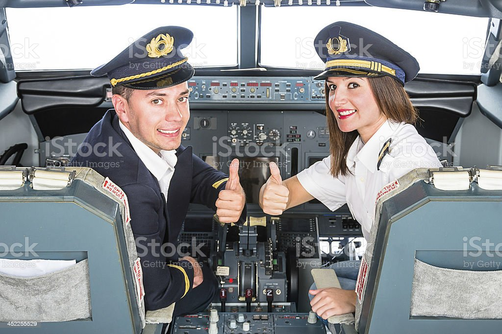 Young Pilots in Fly Simulator stock photo