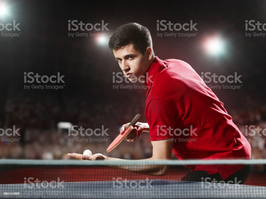 Young ping pong player playing table tennis game royalty-free stock photo
