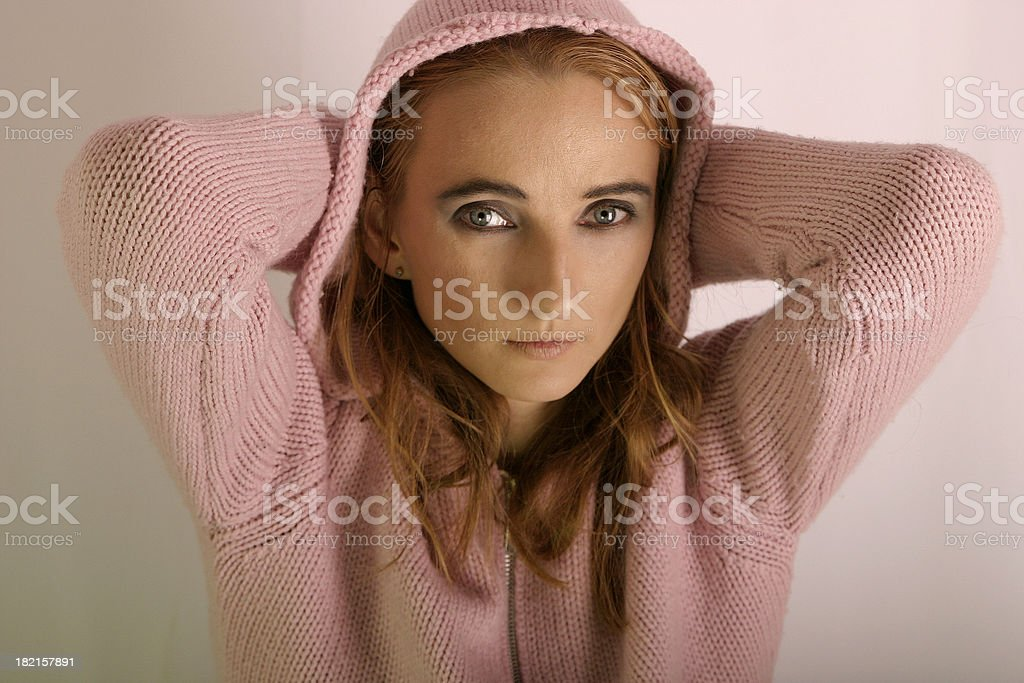 young, pink woman stock photo