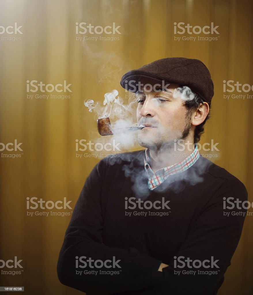 Young pipe smoker royalty-free stock photo
