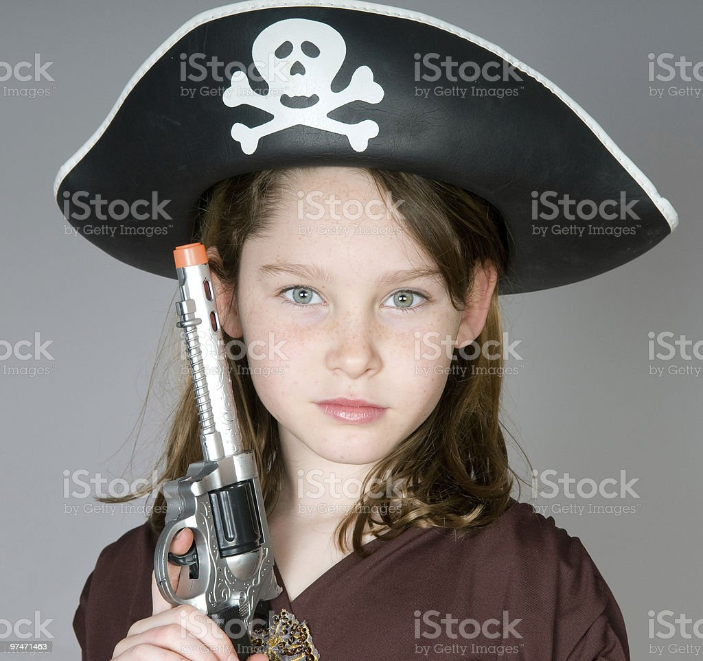 Young pirate girl stock photo