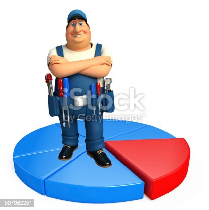 istock Young Plumber with business graph 507982251