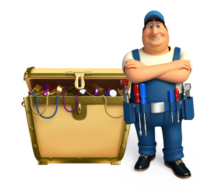 istock Young Plumber with treasure box 507981701