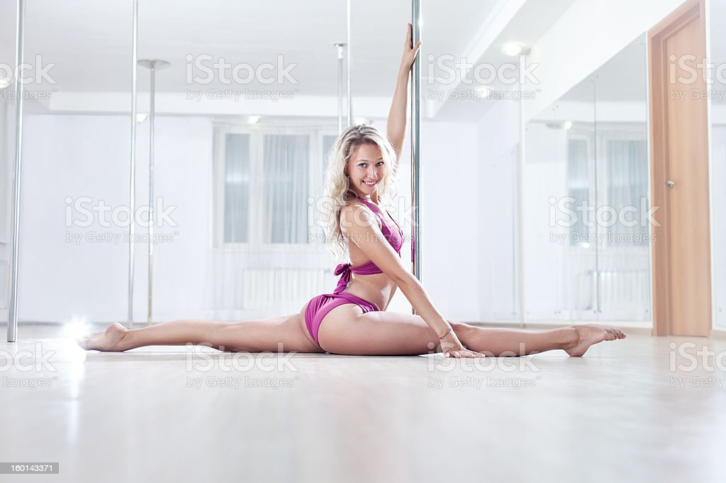 Young pole dance woman royalty-free stock photo