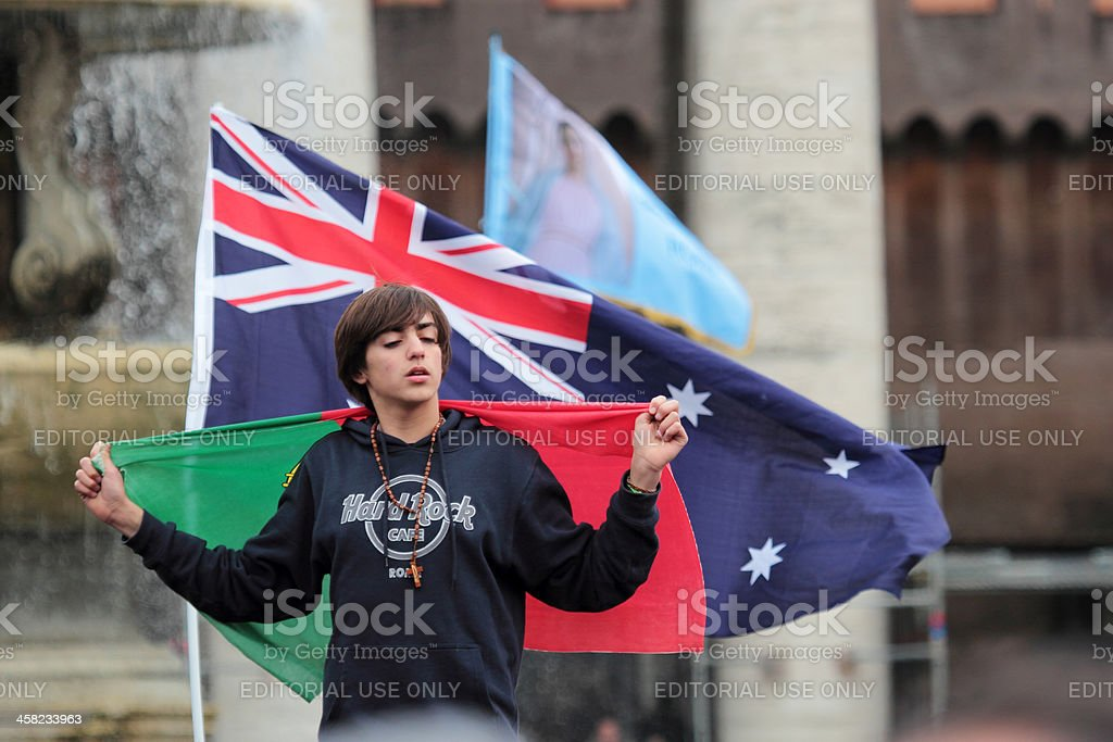 Young portuguese faithful waiting for Pope Francis I stock photo