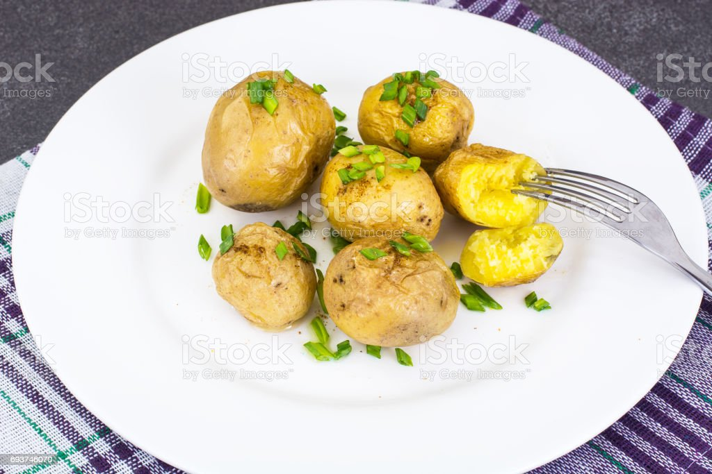 Young potatoes cooked with skin stock photo