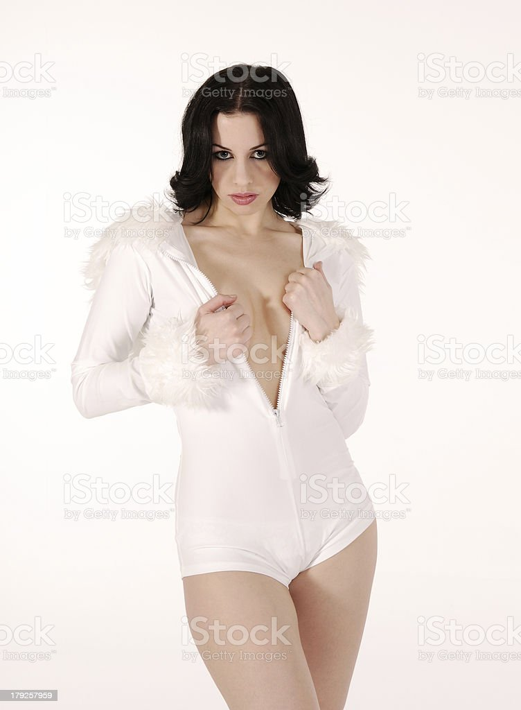 young powerfull lady in a white environment stock photo