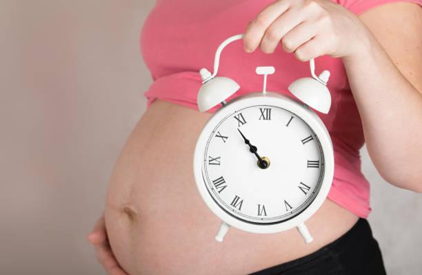 junge schwangere zwischen 30 und 35 jahre alte frau hält oldtimer-wecker dicht an ihrem bauch. - mutterschutzfrist stock-fotos und bilder