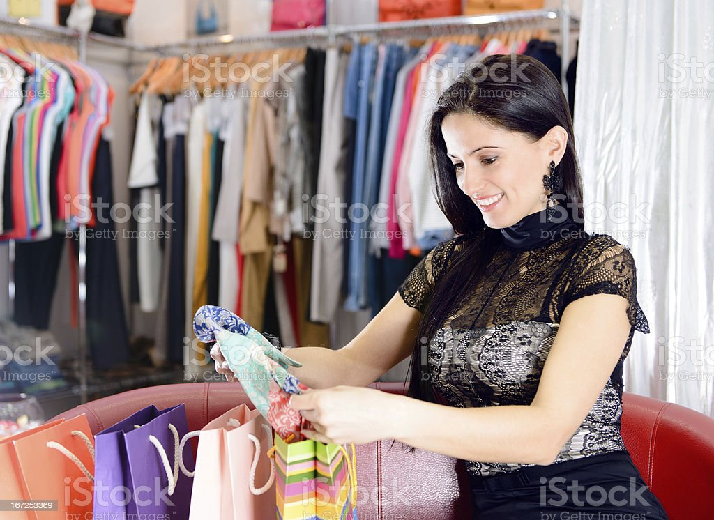 Young pretty brunette shopping royalty-free stock photo