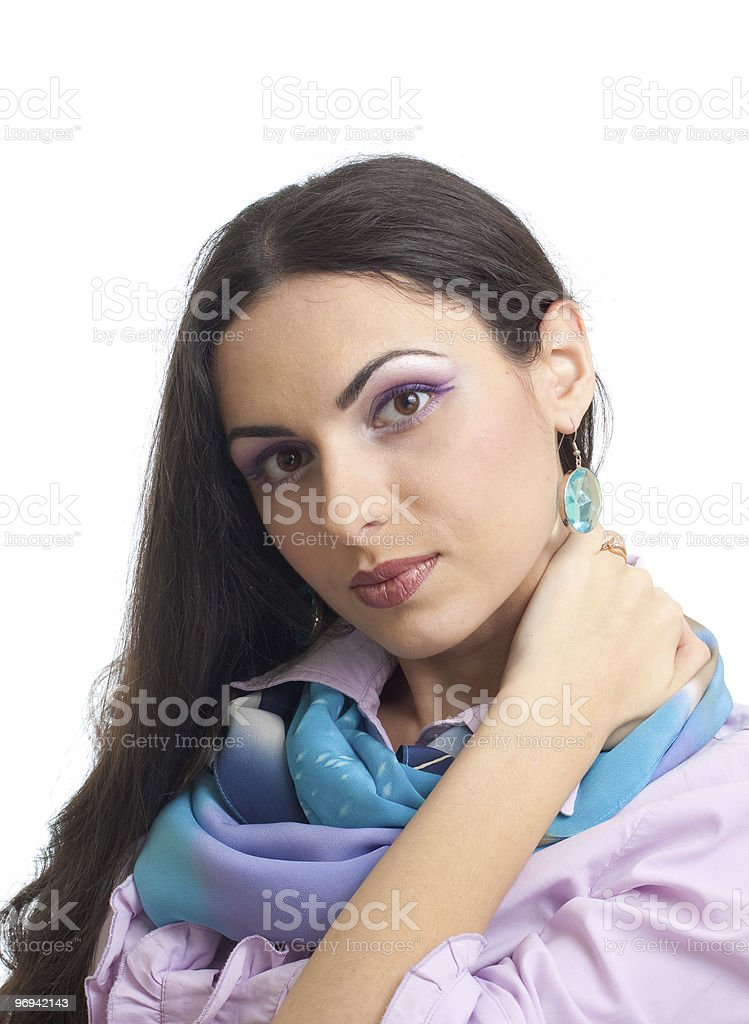 Young pretty brunette women studio portrait isolated royalty-free stock photo