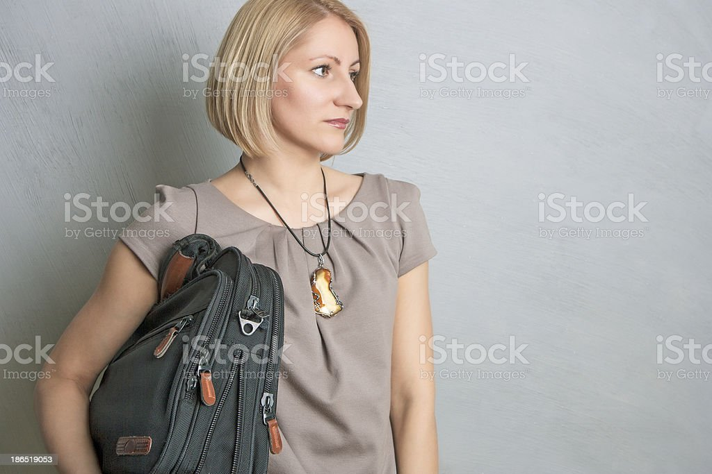 Young Pretty Caicasian Lady With Brief Case royalty-free stock photo