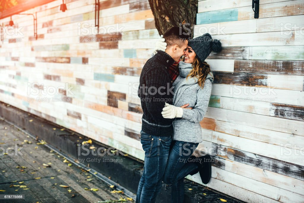 Young pretty couple outdoor royalty-free stock photo