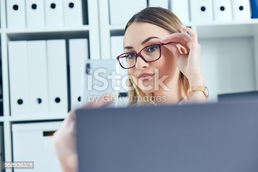 Young Pretty Female Secretary Doing Selfie At Working Place Waste Of