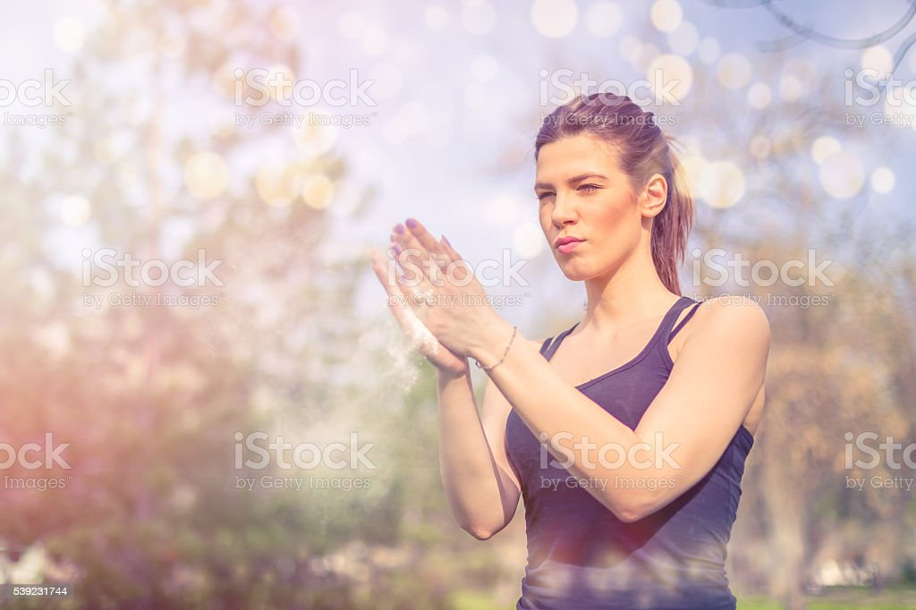 young pretty girl claping with hands royalty-free stock photo