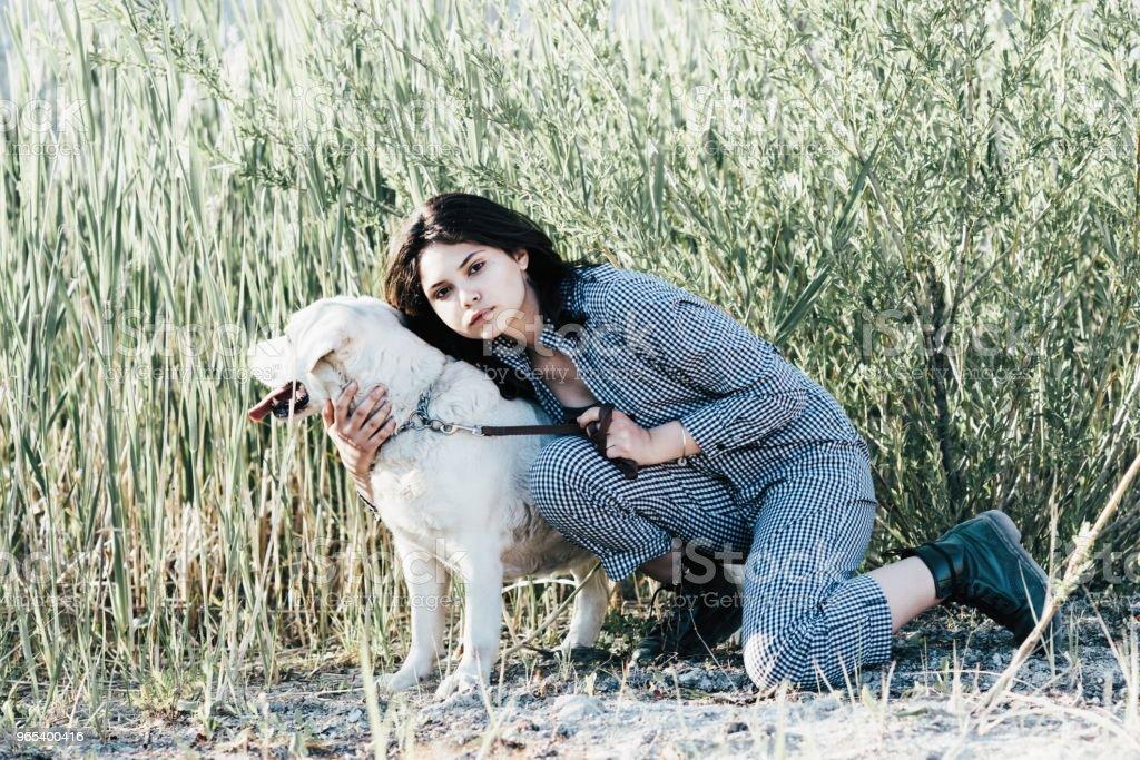 Jeune jolie fille embrasse son chien sur un fond d'herbe verte - Photo de Amitié libre de droits