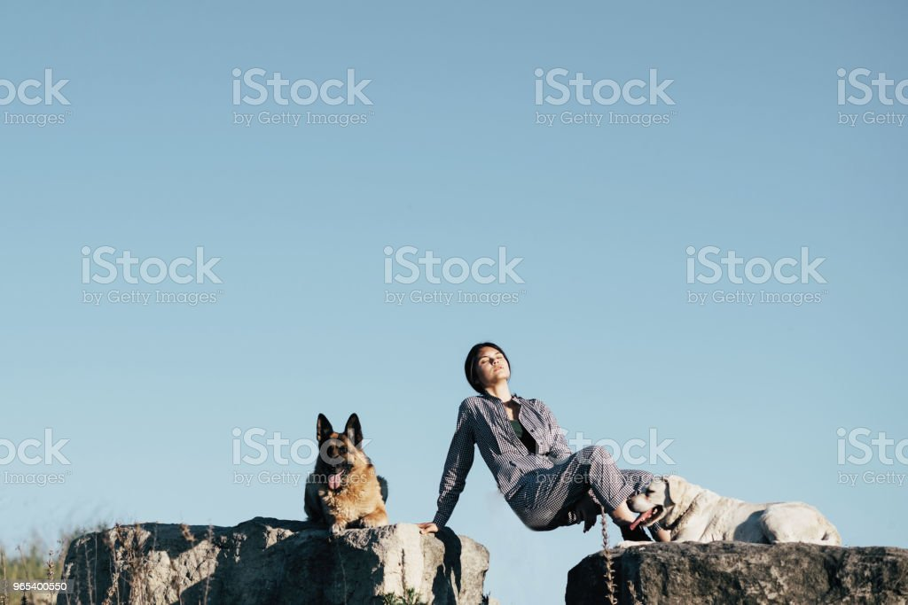 Young pretty girl posing to the photographer, lying on a large stone next to the dogs zbiór zdjęć royalty-free