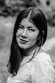 close black white portrait of a young woman