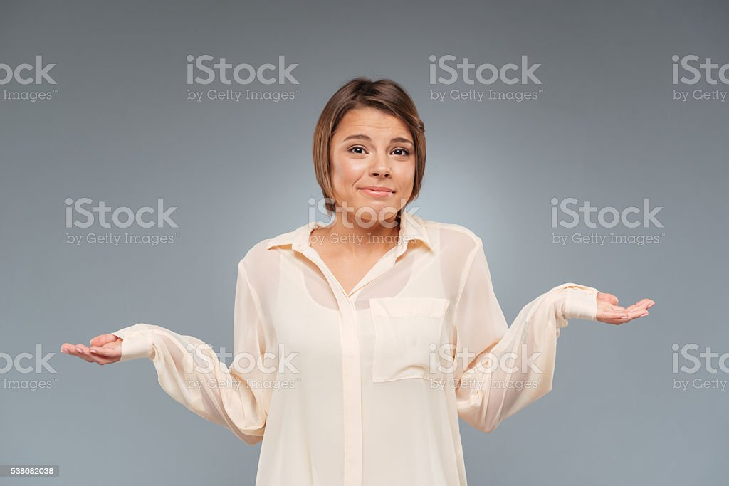 Young pretty girl standing with her arms out stock photo