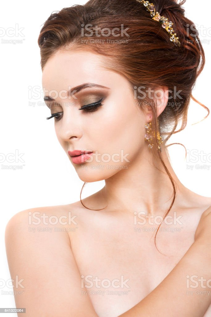 Junge Hübsche Mädchen Mit Frisur Und Makeup Stockfoto Und